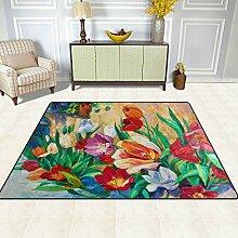 FAJRO Blumen Ölgemälde Teppich für