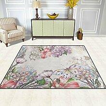 FAJRO Blumen Schmetterling Teppich für