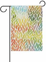 FAJRO Bunte Blätter Muster Flagge Hofdekoration