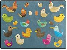 FAJRO Bunte Vögel Teppich für Eingangsbereich,