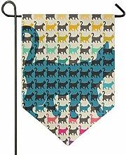 FAJRO Doppelseitige Garten-Flagge, Bunte Katzen
