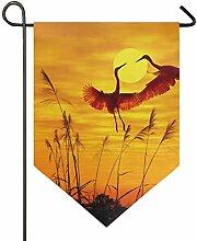 FAJRO Doppelseitige Garten-Flagge, Fliegender Kran