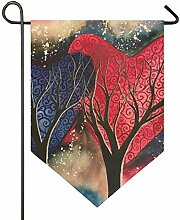 FAJRO Doppelseitige Garten-Flagge, lila und rot,