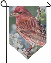 FAJRO doppelseitige Garten-Flagge, rote Vögel,