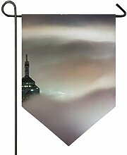 FAJRO Doppelseitige Garten-Flagge, Wolkenkratzer
