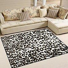 FAJRO Eleganter Leopardenmuster Teppich für