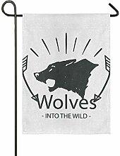 FAJRO Fierce Wolf Flagge Hofdekoration Garten