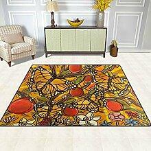 FAJRO Floral Schmetterlinge Teppich für