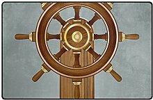 FAJRO Fußmatte aus Holz mit Schiffsrad aus