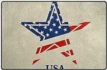 FAJRO Fußmatte mit USA-Motiv und Sternen-Logo,