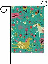 FAJRO Garten-Flagge mit fetten Pferden,