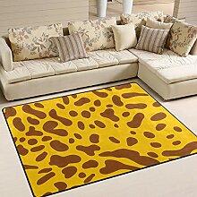 FAJRO gelbe Leopardenmuster Teppich für