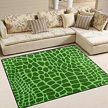 FAJRO grüner Krokodilhaut Teppich für