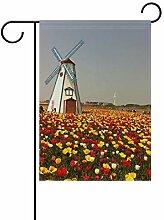 FAJRO Holländische Windmühle und Tulpen Flagge