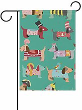 FAJRO Hunde-Muster, Garten-Flagge für Garten,