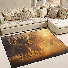 FAJRO Pferde Laufen Sonnenuntergang Teppich für