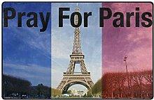 FAJRO Pray for Paris France Polyester Fußmatte