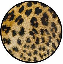 FAJRO Runder Teppich mit Leopardenmuster,