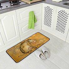 FAJRO rutschfeste Teppich-Fußmatte mit Kuhmotiv
