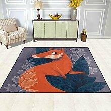 FAJRO Schöne Fuchsmuster Teppich für