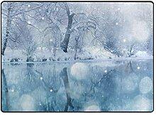 FAJRO schöne weiße Schneelandschaft Teppich für