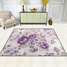 FAJRO Teppich, Blumenmuster, für Eingangsbereich,