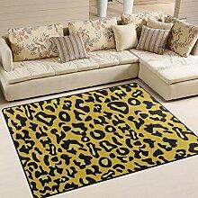 FAJRO Teppich, Leopardenmuster, gelb, für