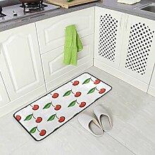 FAJRO Teppich mit Kirschen-Muster, rutschfest,