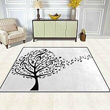FAJRO Teppich mit Musiknoten und Baum-Muster, für