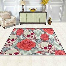 FAJRO Teppich mit Rosen- und Skelettmuster für
