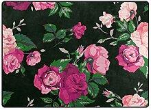 FAJRO Teppich mit Rosenmuster, für