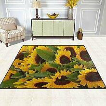 FAJRO Teppich mit Sonnenblumenfeld-Muster, für