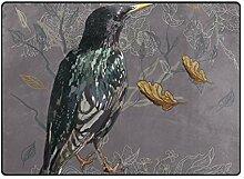 FAJRO Teppich mit Vogel-Blumenmuster, für