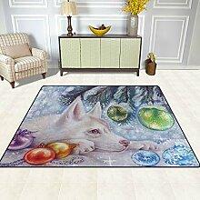 FAJRO Teppich mit weihnachtlichem Hunde-Muster,