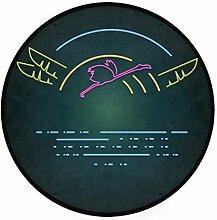 FAJRO Teppich, rund, Flying Neon Flamingo Teppich,