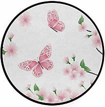 FAJRO Teppich, rund, mit rosa Frühlingsblumen und