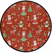 FAJRO Teppich, rund, mit weihnachtlichem