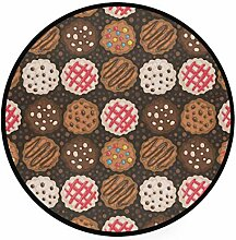 FAJRO Teppich, rund, Schokoladenchips, Cookies,