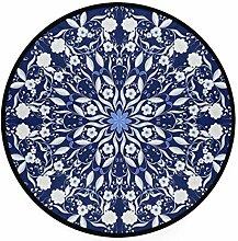 FAJRO Teppich, rund, weiß, Mandala,