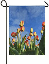 FAJRO Tulpen Blauer Himmel Flagge Hofdekoration