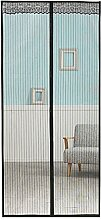 FakeFace Fliegengitter Magnetvorhang für Türen aus Polyester,Spitze Moskitonetz Insektenschutz Türvorhang 90 x 210 CM (Schwarz)