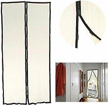 FakeFace Fliegengitter Magnetvorhang für Türen aus Polyester Moskitonetz Insektenschutz Türvorhang 100 x 210 CM (Beige)