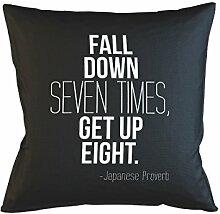 Fall Down Seven Times Get Up Eight Japanese Proverb Schlafsofa Home Décor Kissen Kissenbezug Fall Schwarz
