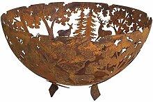 Fallen Fruits Gusseisen-Feuerschale, halbrund, mit