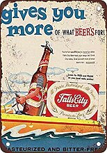 Falls City Beer and Boating Blechschild Retro