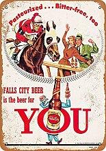 Falls City Beer and Horse Racing Blechschild Retro