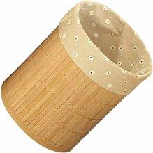 Faltbar Mülleimer Bambus rund Papierkorb Holz