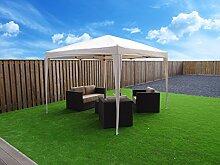 Faltbar POP UP Pavillon | 300 x 300 cm / 3 x 3 m | Gartenzelt Partyzelt | Sand / Beige / Weiß | SORARA | Polyester | für Garten Terrasse Markt Camping Festival Wasserdich