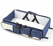faltbar Wiege Beweglicher Beutel für Baby hohe Kapazität multifunktionale Tasche Reisebett bunte Wiege , deep blue