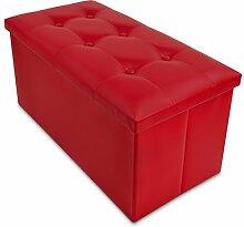 Faltbare Sitzbank mit großem Stauraum - Rot, 76 x 38 x 35 cm - Kunstleder Aufbewahrungsbox mit Sitzpolster - Grinscard